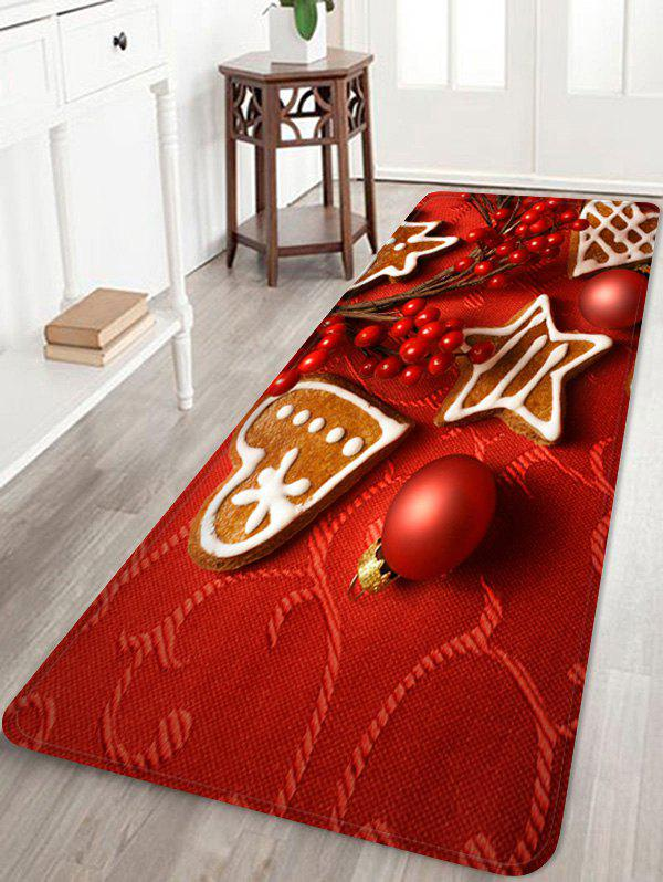 Christmas Balls Heart Biscuit Pattern Water Absorption Area Rug - LAVA RED W24 X L71 INCH