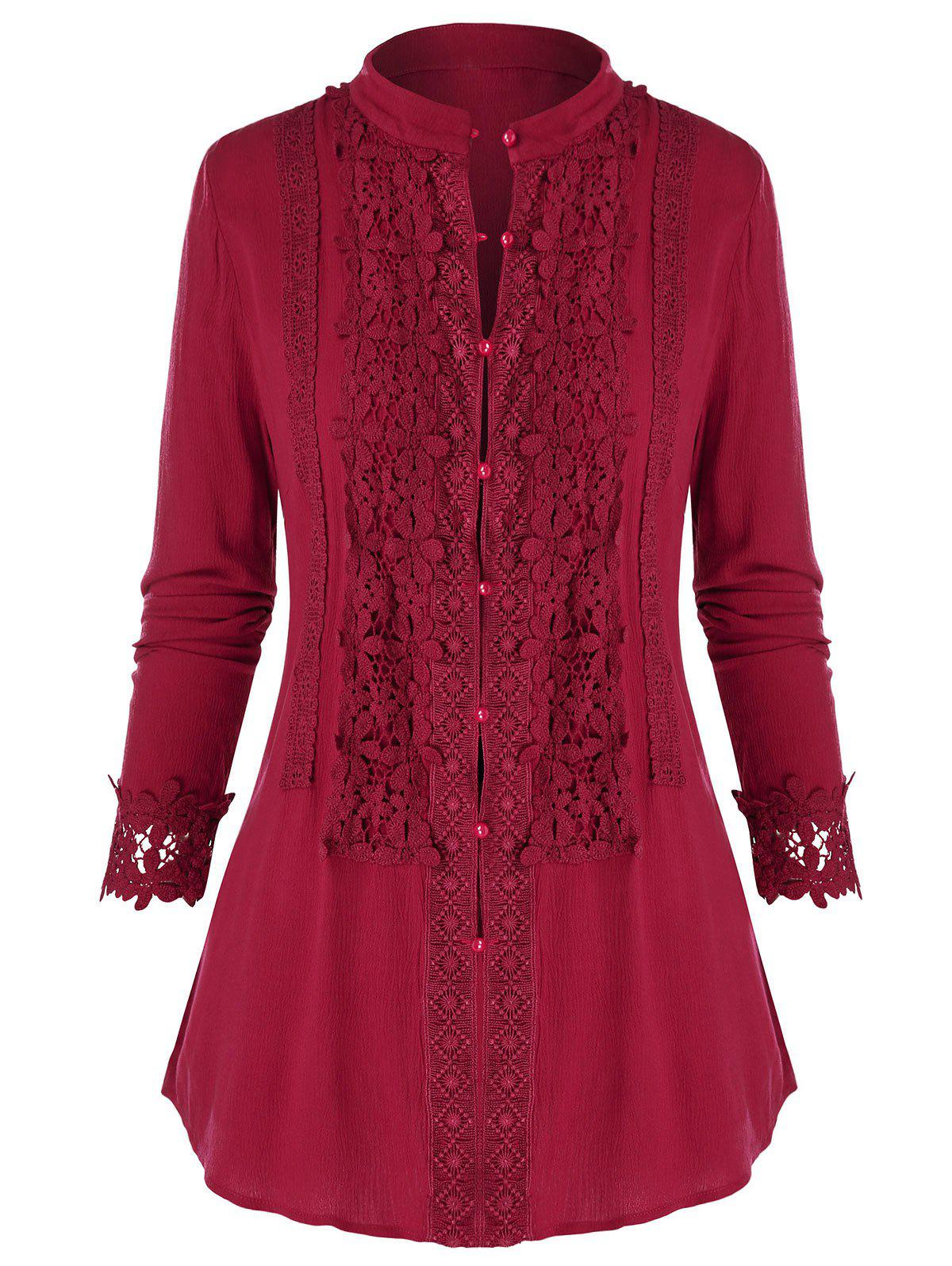 Plus Size Lace Insert Buttons Blouse - CHERRY RED L