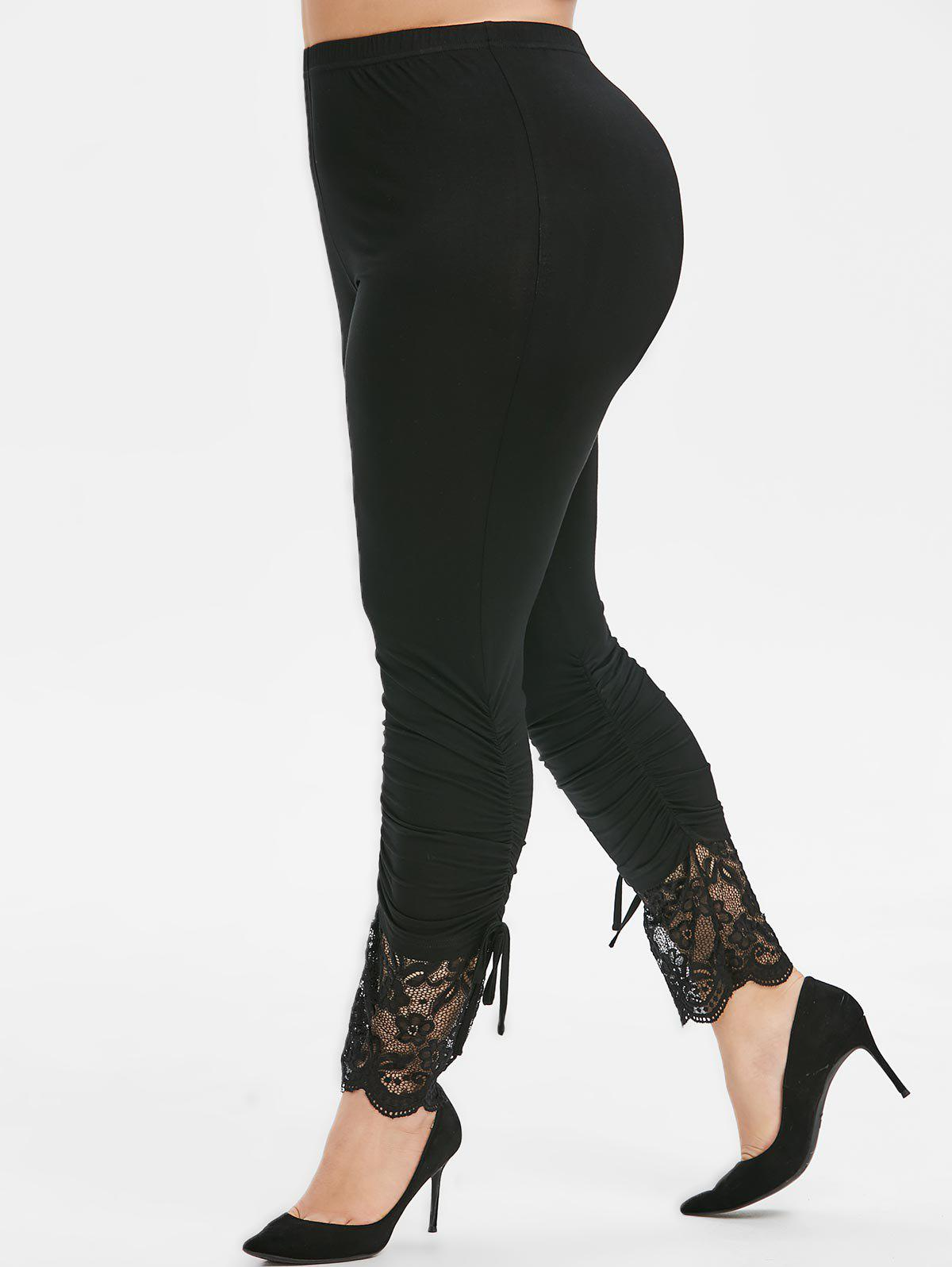 Plus Size Flower Lace Insert Ruched Bowknot Skinny Leggings - BLACK 4X