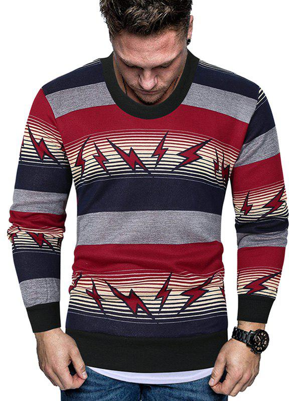 Striped Lightning Graphic Crew Neck Fleece Sweater - RED XL