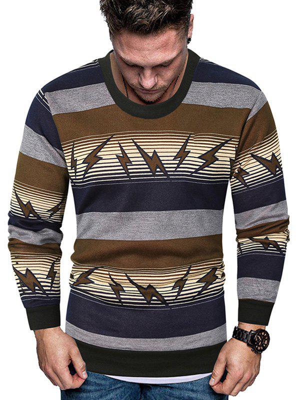 Striped Lightning Graphic Crew Neck Fleece Sweater - GREEN L