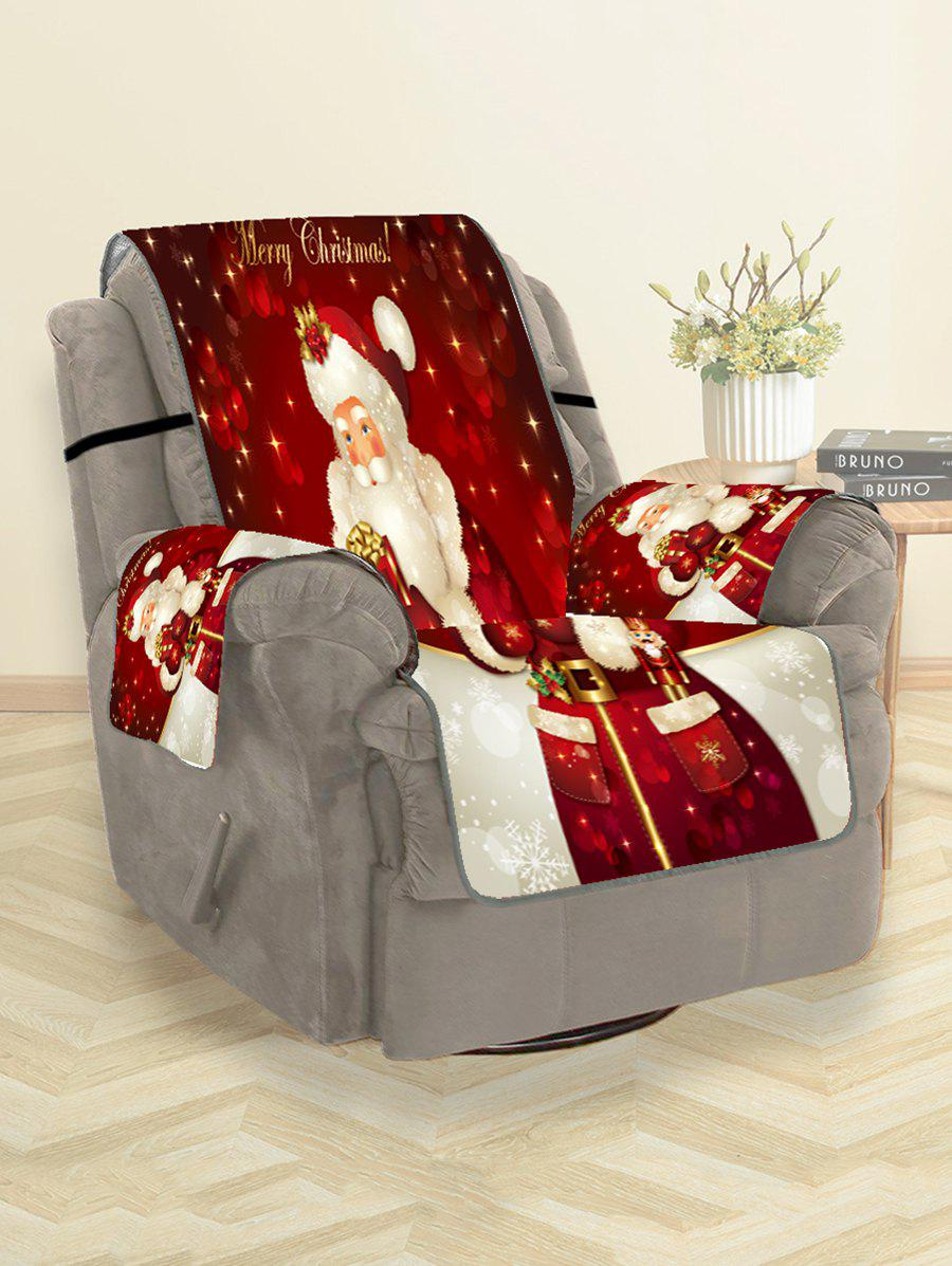 Christmas Santa Claus Gifts Greeting Pattern Couch Cover - RED WINE SINGLE SEAT