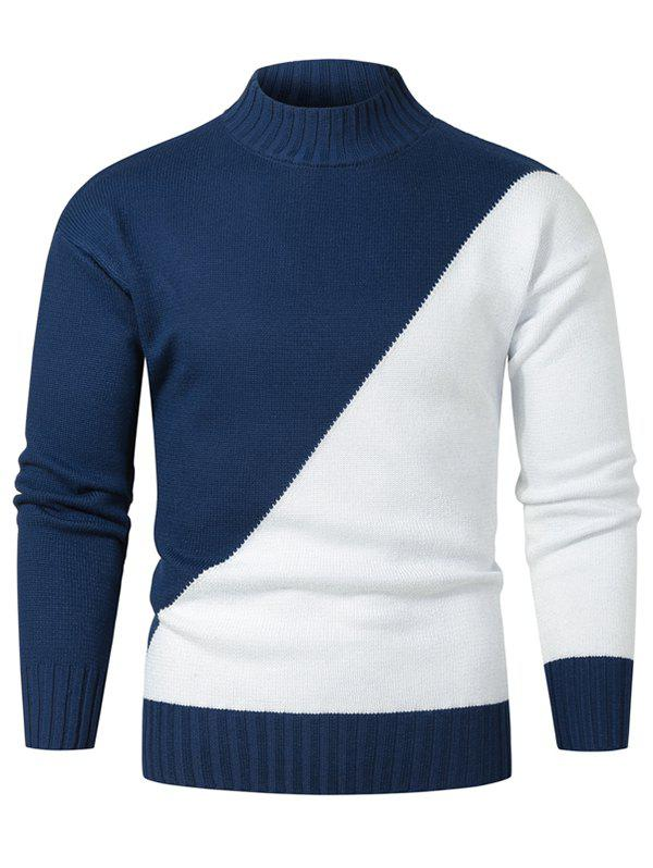 Contrast Color Mock Neck Drop Shoulder Sweater - CADETBLUE XL