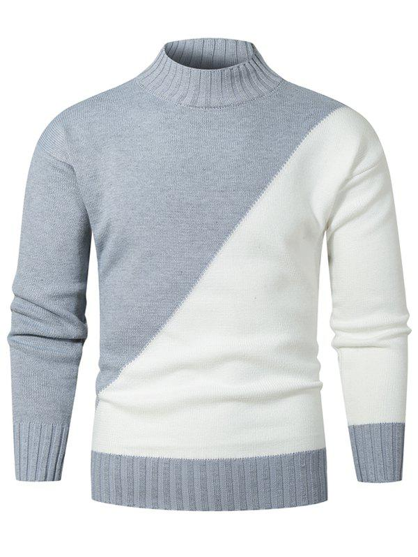 Contrast Color Mock Neck Drop Shoulder Sweater - GRAY L