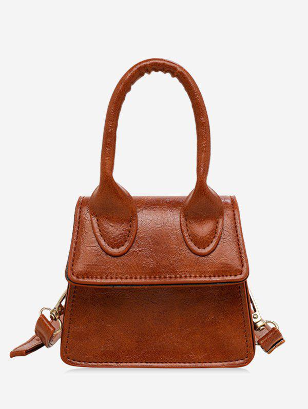 Mini Solid Single Shoulder Bag - BROWN