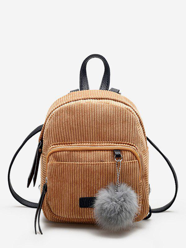 Fuzzy Ball Canvas Small Backpack - LIGHT BROWN