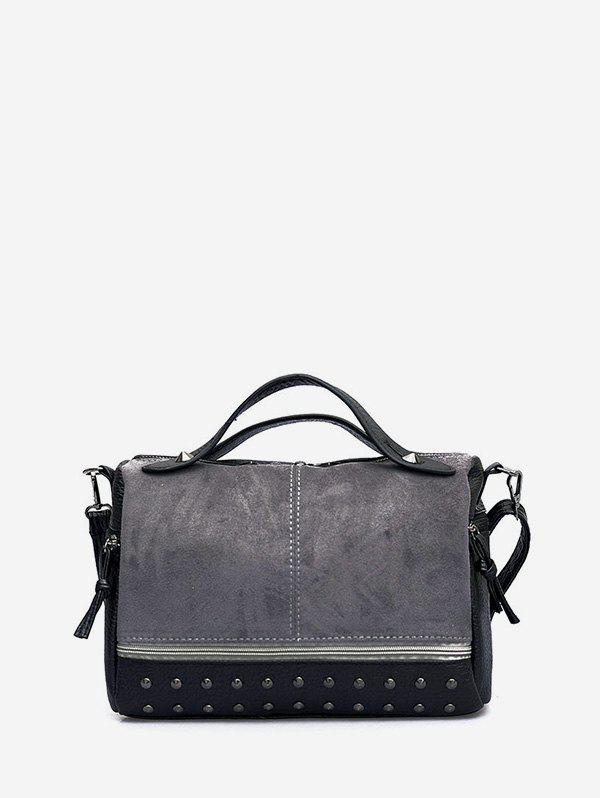 Jointed Rivet Boston Bag - BATTLESHIP GRAY