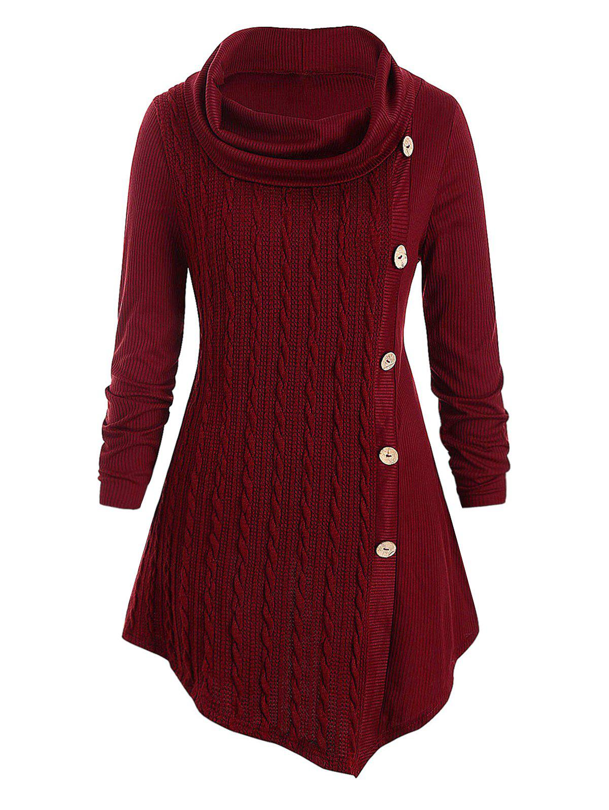 Plus Size Cowl Neck Cable Knit Top - RED WINE L