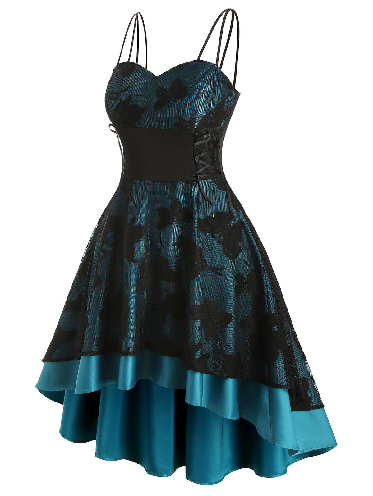 Plus Size Lace Up Butterfly High Low Party Dress - PEACOCK BLUE 5X