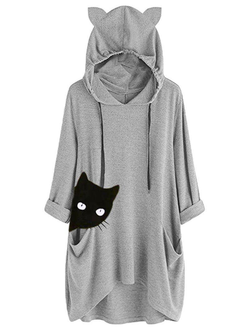 Sweat à Capuche Tunique Chat Graphique - Gris XL
