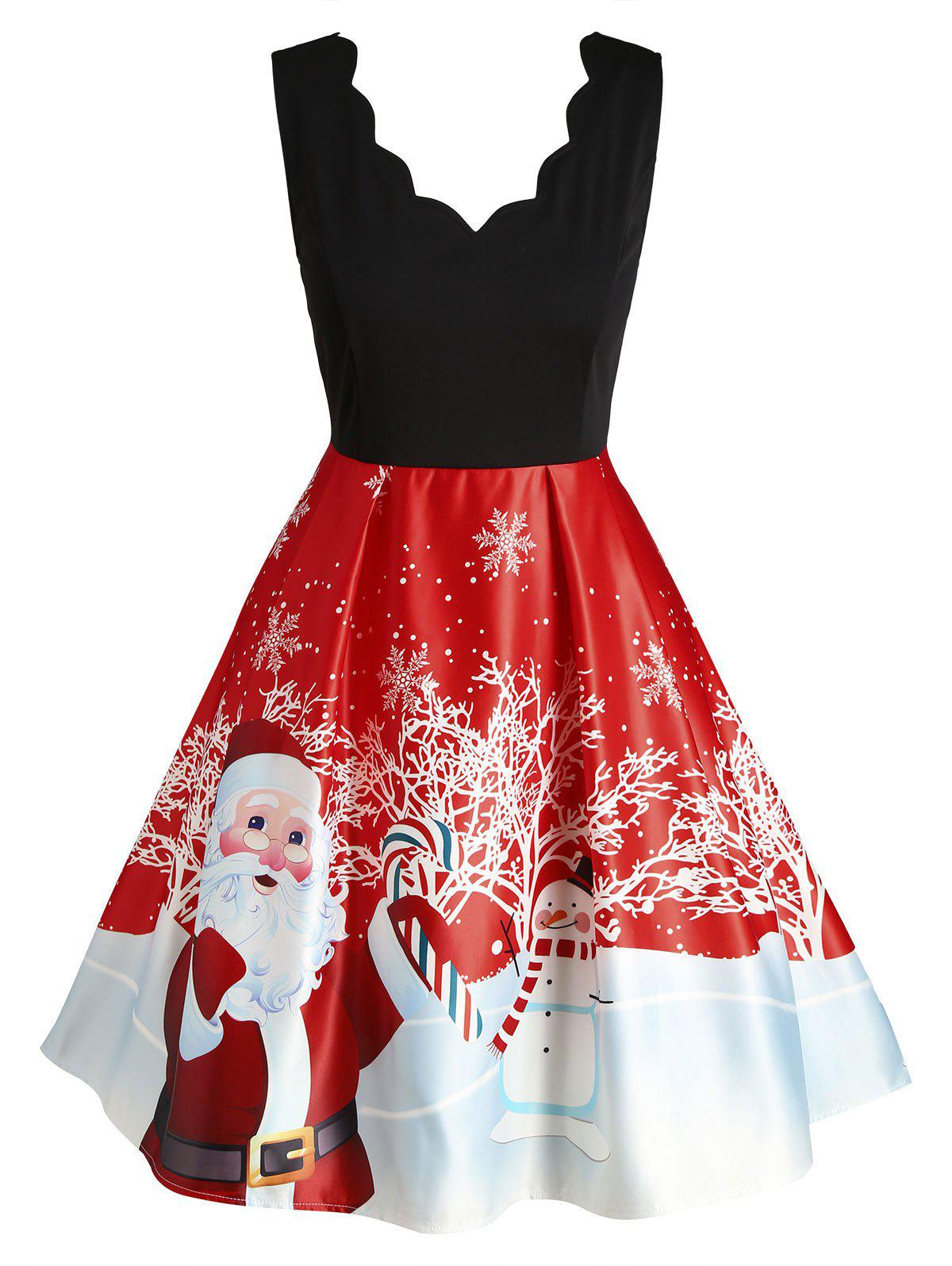 Plus Size Vintage Scalloped Christmas Printed Dress - RED L