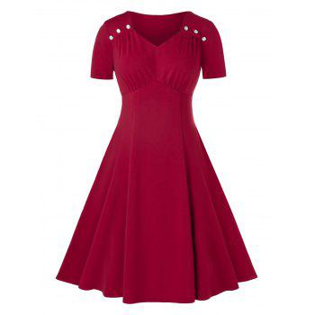 Plus Size Sweetheart Neck Ruched A Line Dress
