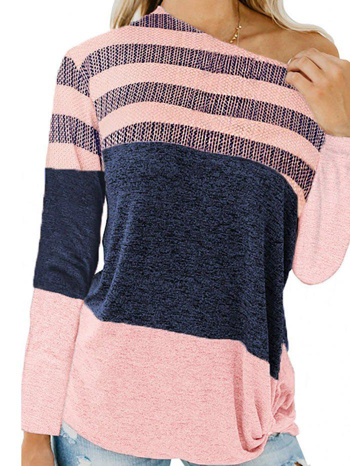 Striped Twisted Longline T-shirt - PINK S