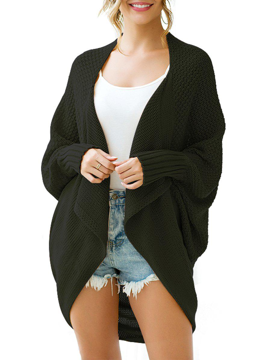 Batwing Sleeve Open Front Longline Circle Cardigan - BLACK L