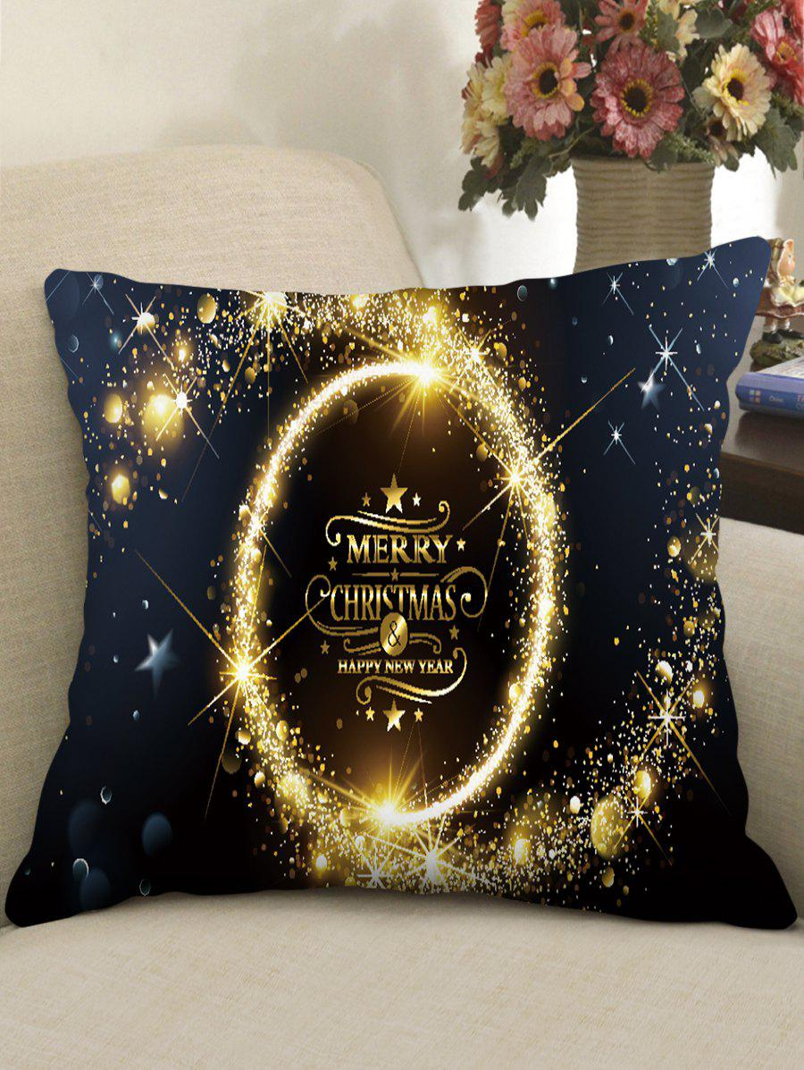 Christmas Greeting Theme Decorative Pillowcase - multicolor C