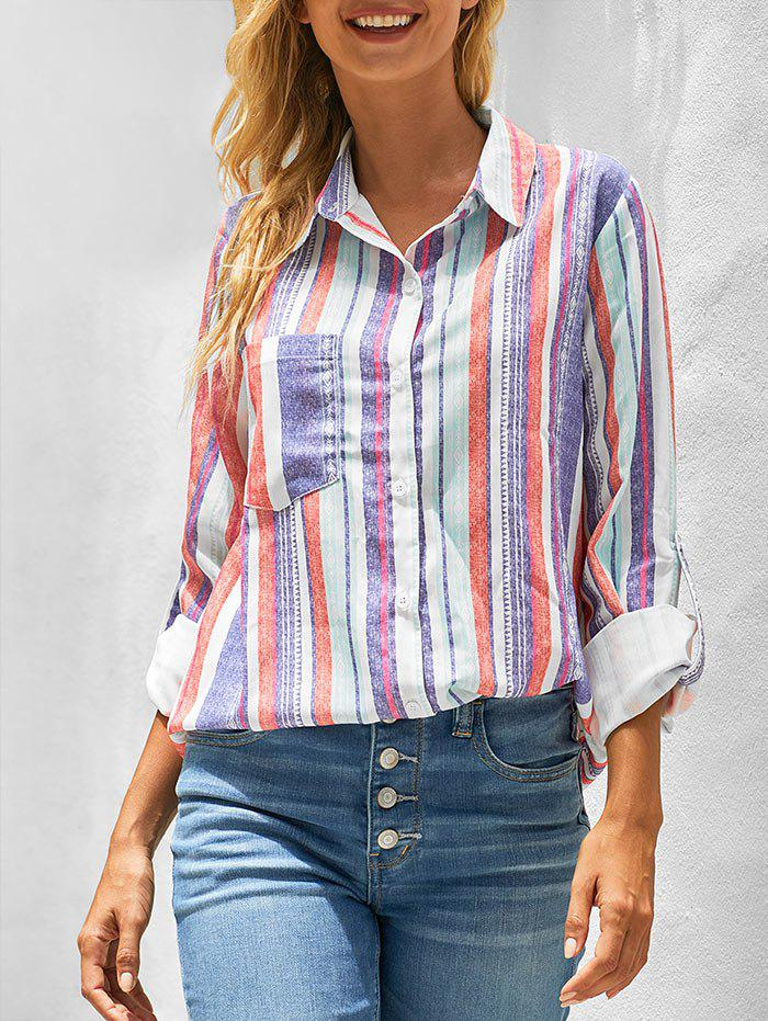 Striped Pocket Roll Tab Sleeve Longline Shirt - multicolor A M