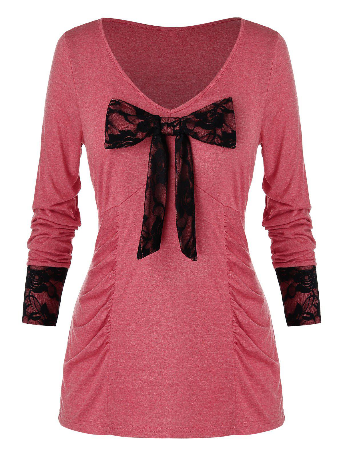 Plus Size Floral Lace Panel Bowknot T-Shirt - WATERMELON PINK L
