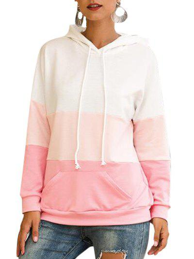 Drop Shoulder Colorblock Kangaroo Pocket Hoodie - PINK M