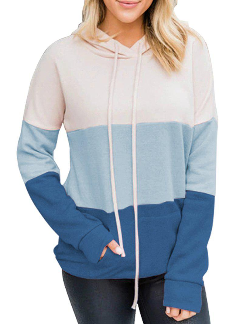 Drop Shoulder Colorblock Kangaroo Pocket Hoodie - BLUE XL