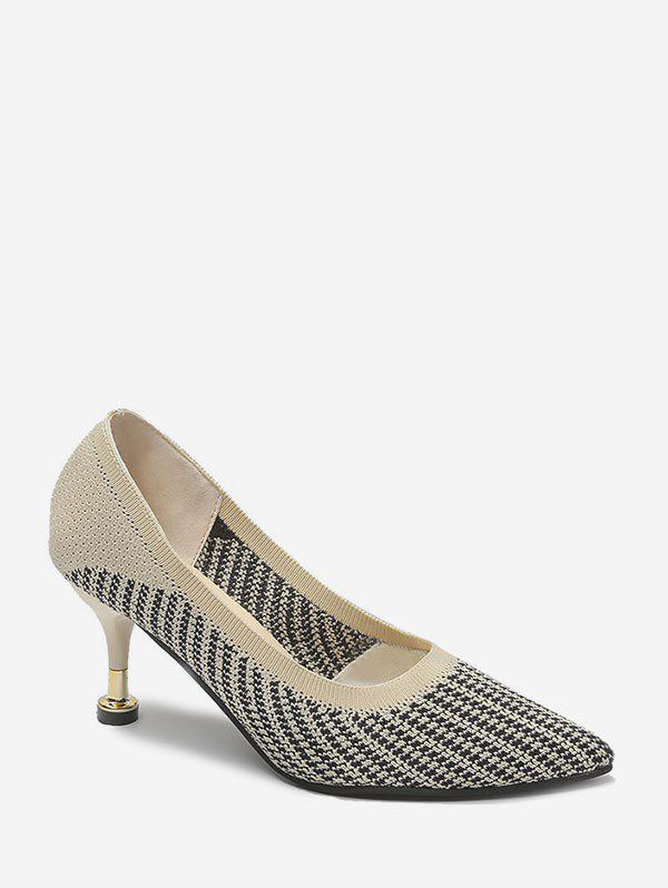Woven Striped Mid Heel Basic Pumps - APRICOT EU 40
