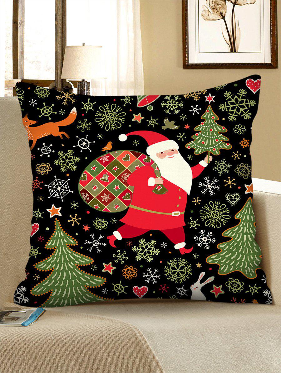 Father Christmas Tree Polyester Pillow Cover - multicolor W18 X L18 INCH