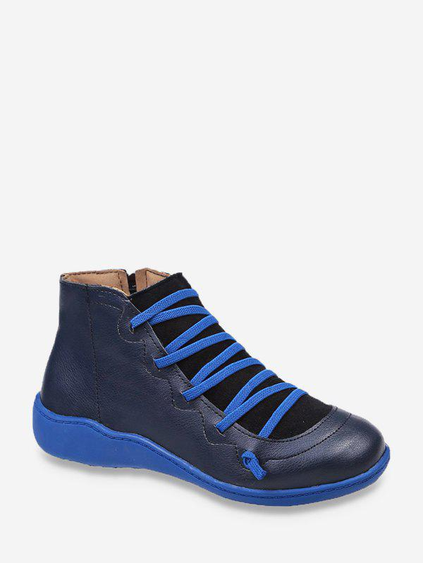 Sillonnez Patch Round Bottines Toe - Bleu EU 43