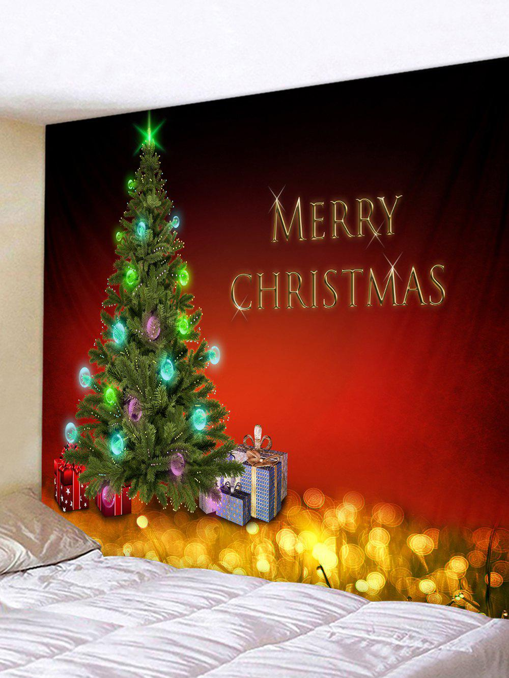 Christmas Tree Gifts Greeting Pattern Tapestry Wall Hanging Art Decoration - multicolor W91 X L71 INCH