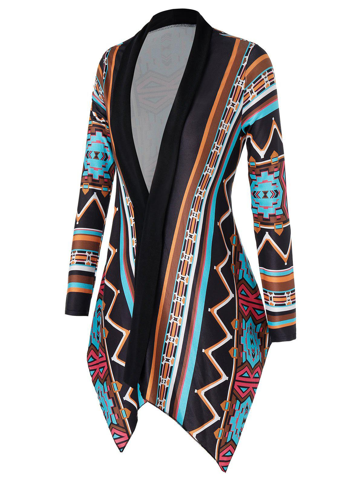 Plus Size Asymmetric Geometry Cardigan - multicolor A L