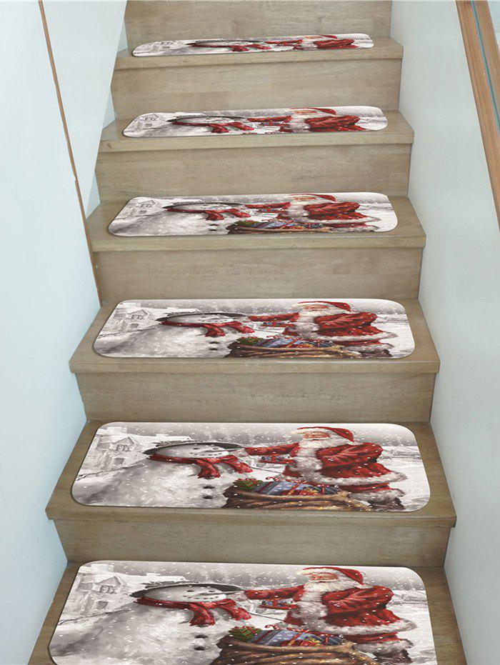Christmas Santa Claus Snowman Gifts Pattern Stair Tread Rugs - multicolor 5PCS X 28 X 9 INCH