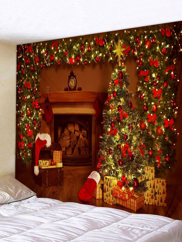 Christmas Tree Gifts Fireplace Print Tapestry Wall Hanging Art Decoration - BLOOD RED W59 X L51 INCH