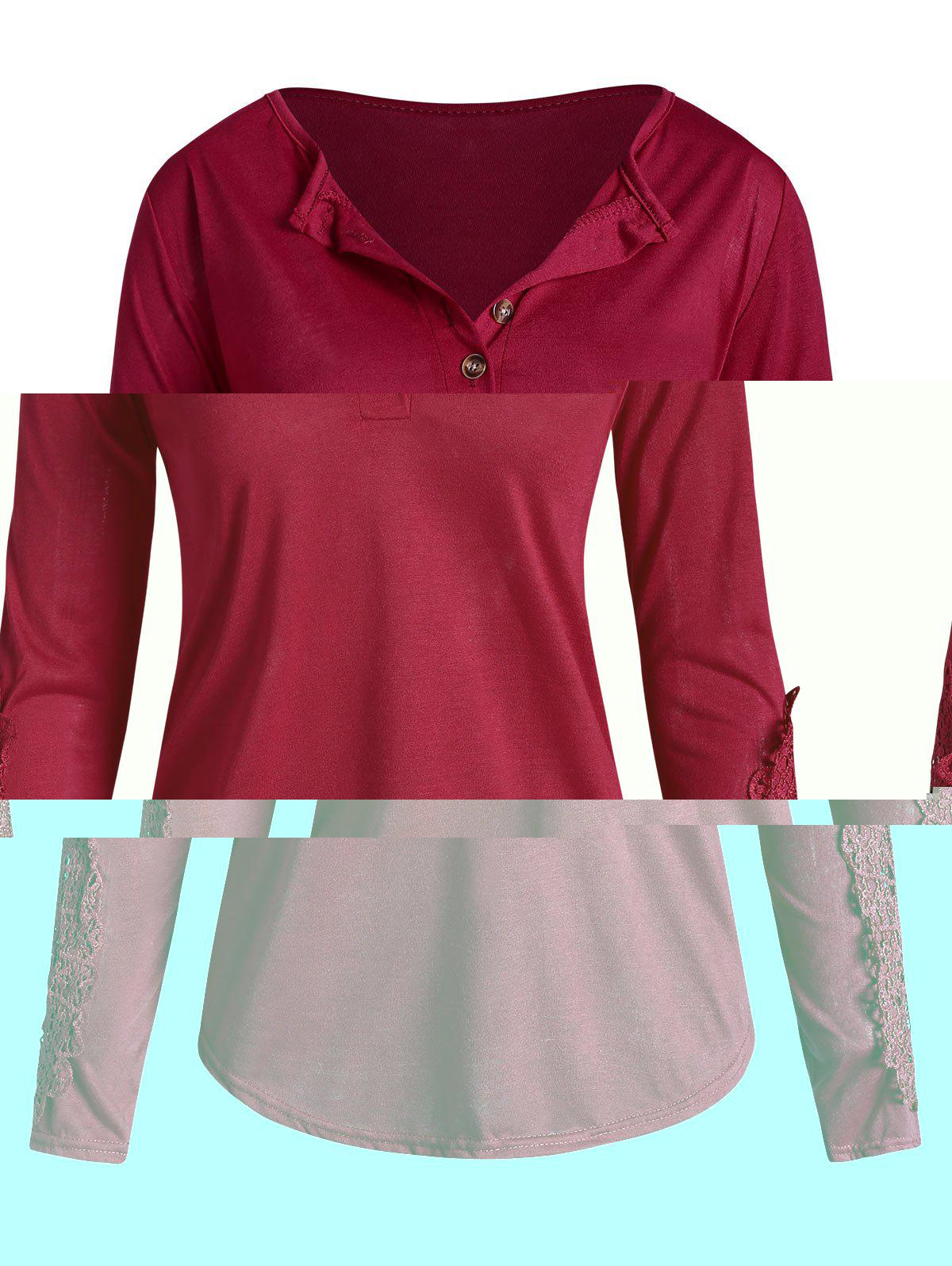Plus Size Half Buttons Lace Insert T Shirt - RED 1X