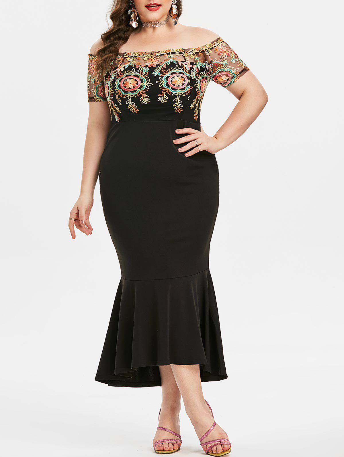 Plus Size Off The Shoulder Embroidered Fishtail Party Dress - BLACK 5X