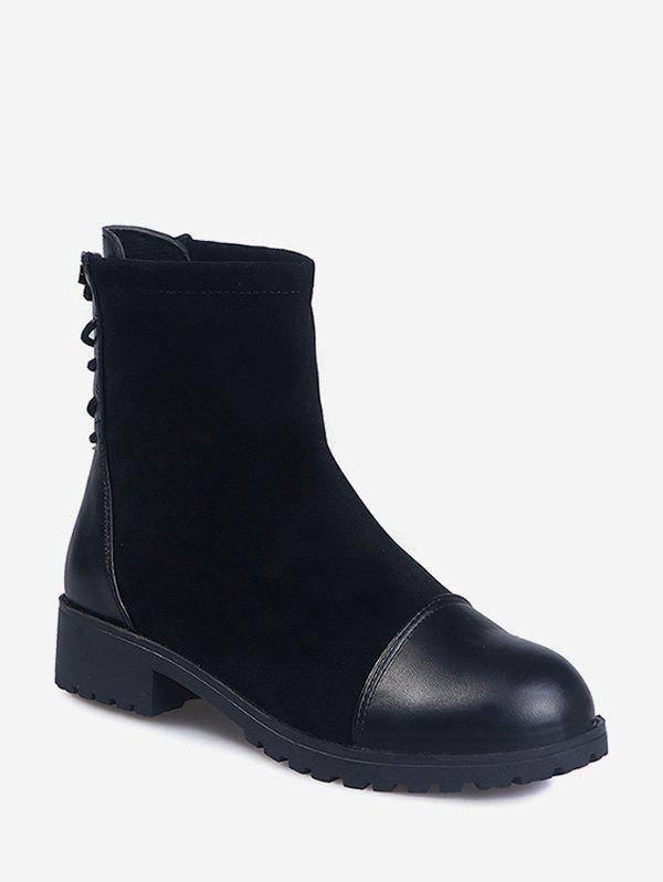 PU Leather Panel Tie Back Ankle Boots - BLACK EU 39