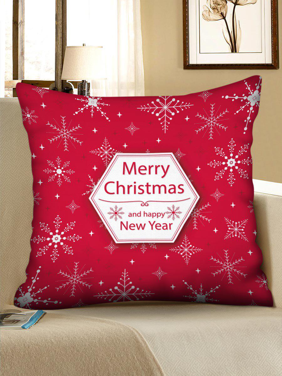 Merry Christmas Snowflake Polyester Pillow Cover - RED W24 X L24 INCH