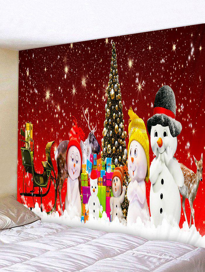 Christmas Tree Snowman Family Print Tapestry Wall Hanging Art Decoration - multicolor W79 X L59 INCH