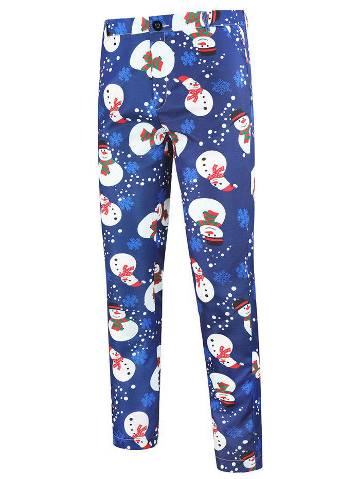 Christmas Snowflake Snowman Pattern Chino Pants - BLUE XS