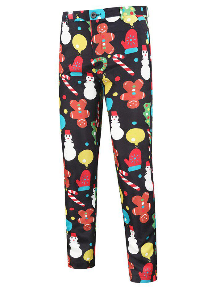 Cartoon Snowman Pattern Chino Pants - BLACK L