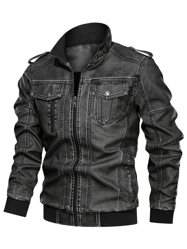 Solid Color Faux Leather Cargo Jacket - BLACK XS