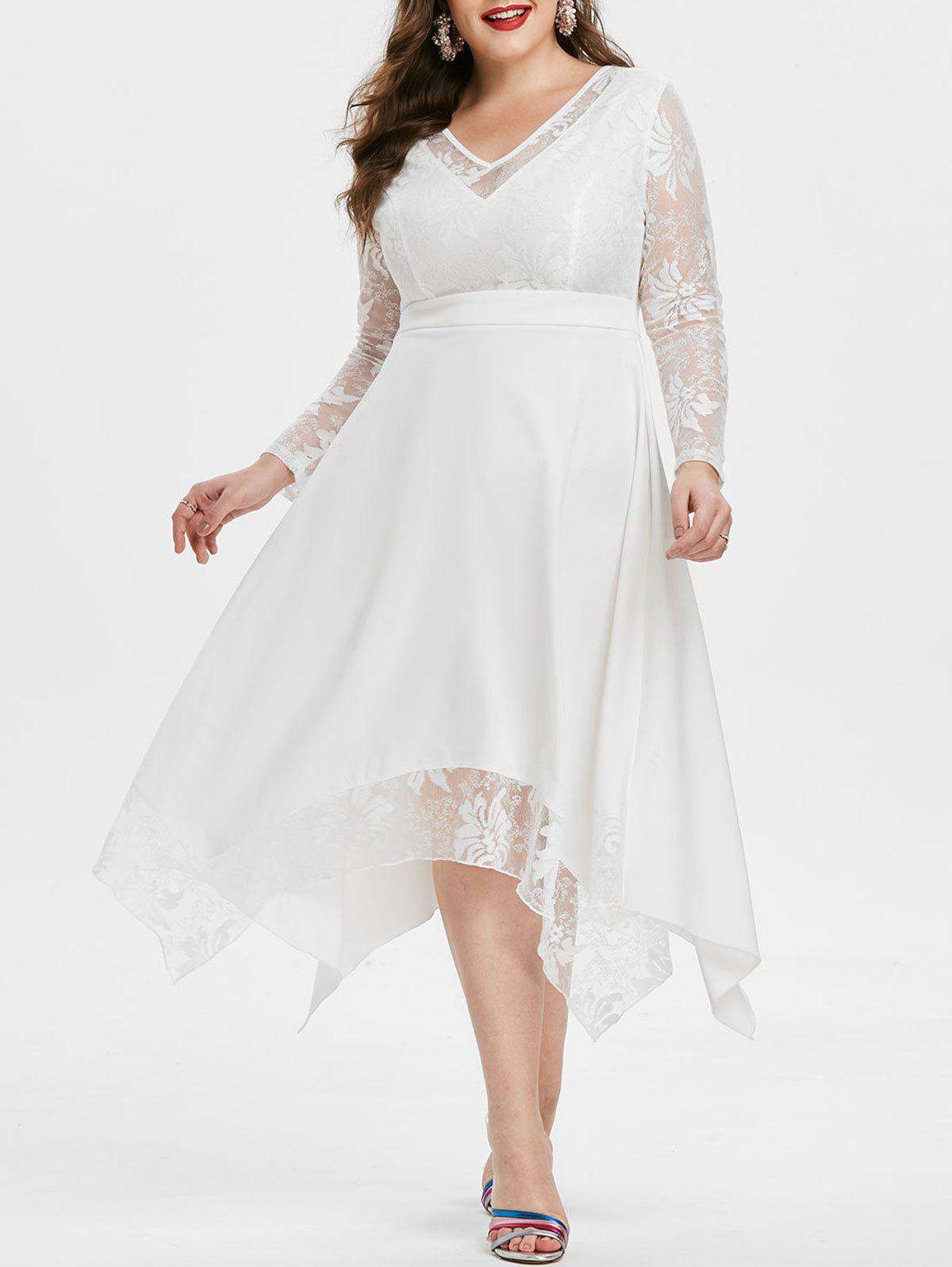 Plus Size Lace Insert Flounce Prom Dress - MILK WHITE 3X