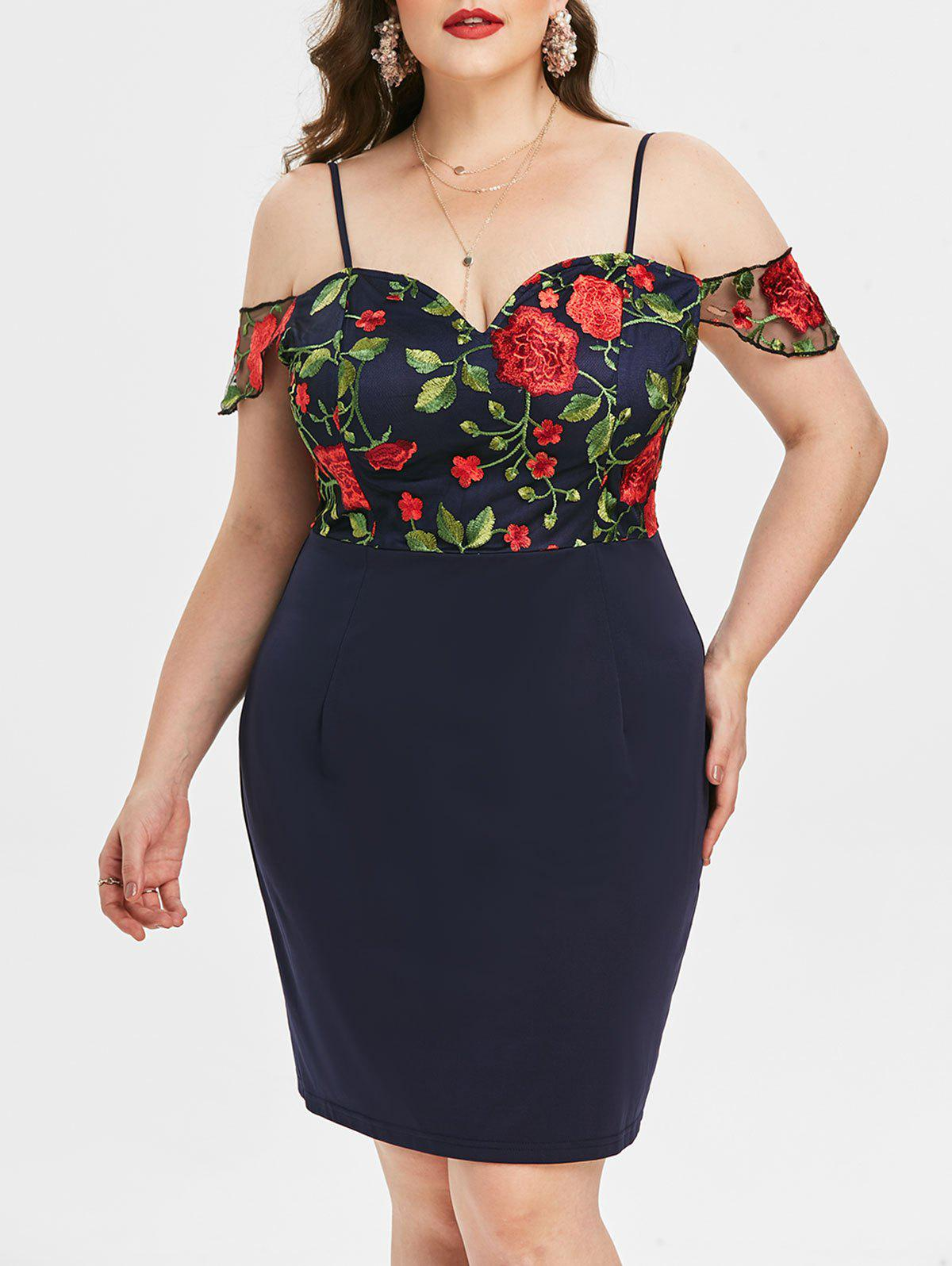 Plus Size Cold Shoulder Embroidered Tight Dress - DEEP BLUE 5X
