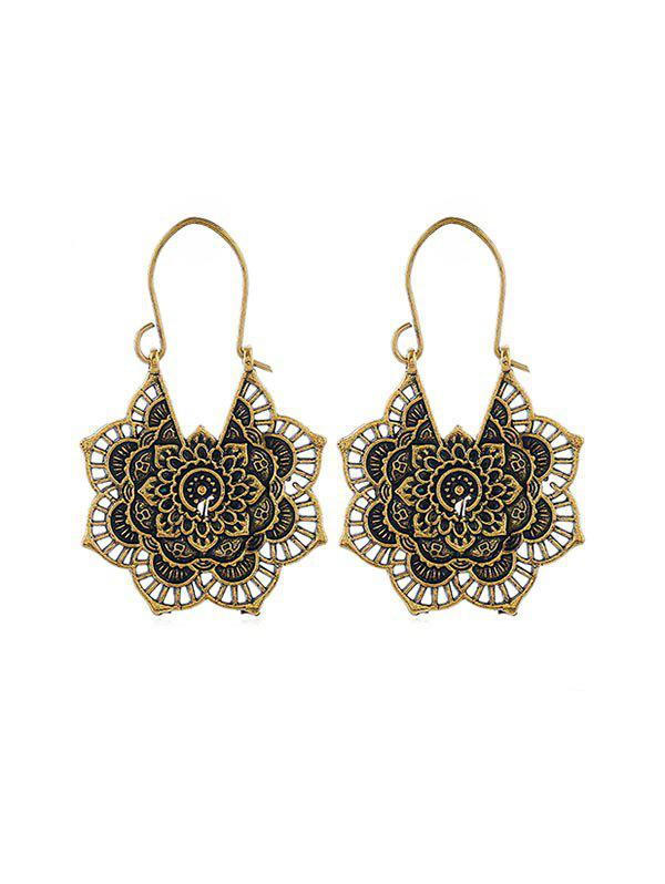 Ethnic Floral Hollow Out Earrings - GOLD