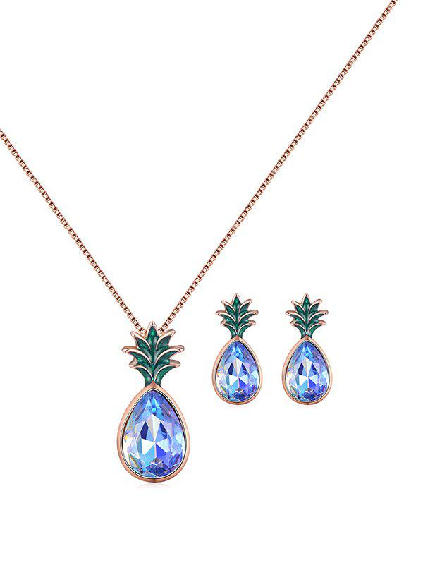 Fruit Pineapple Faux Crystal Jewelry Set - ROSE GOLD