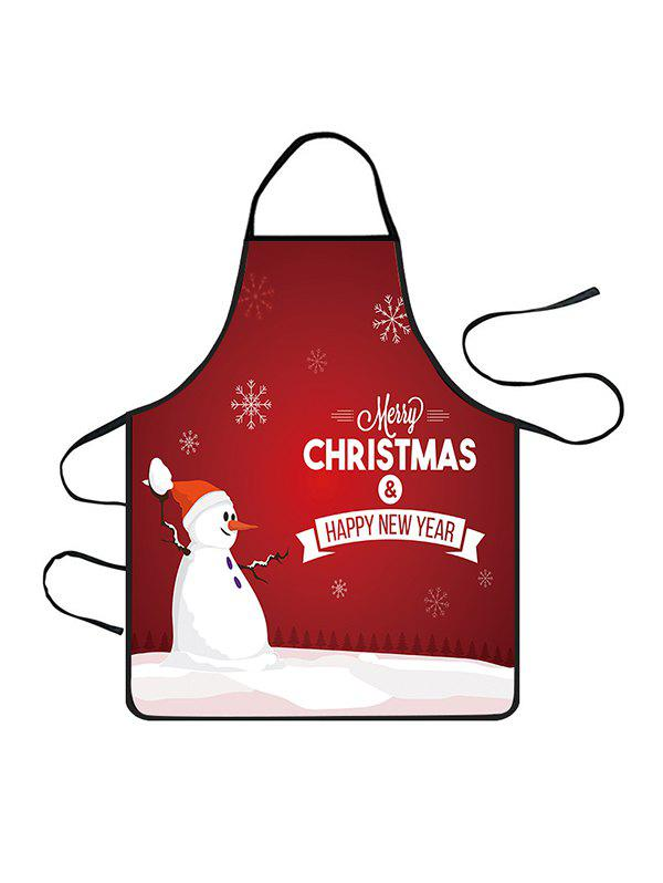 Christmas Snowman Snowflake Greeting Print Cooking Apron - CHERRY RED