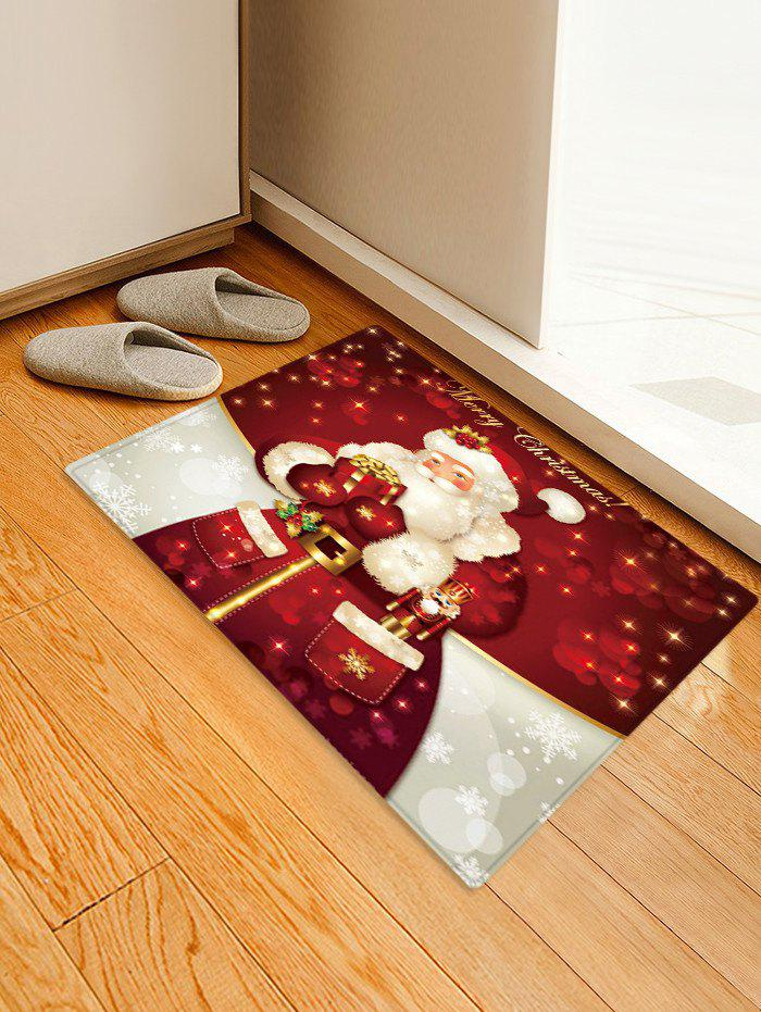 Christmas Letter Santa Claus Print Floor Rug - multicolor W24 X L35.5 INCH
