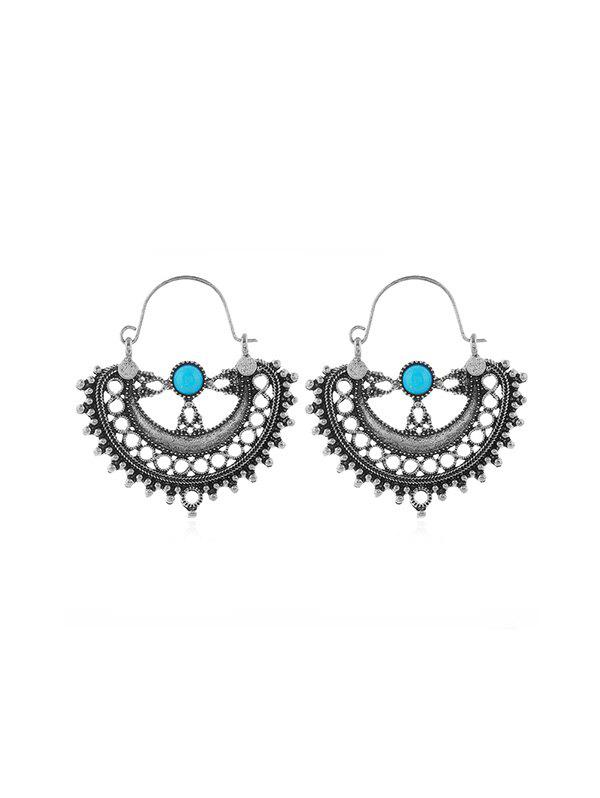 Ethnic Hollow Turquoise Earrings - SILVER