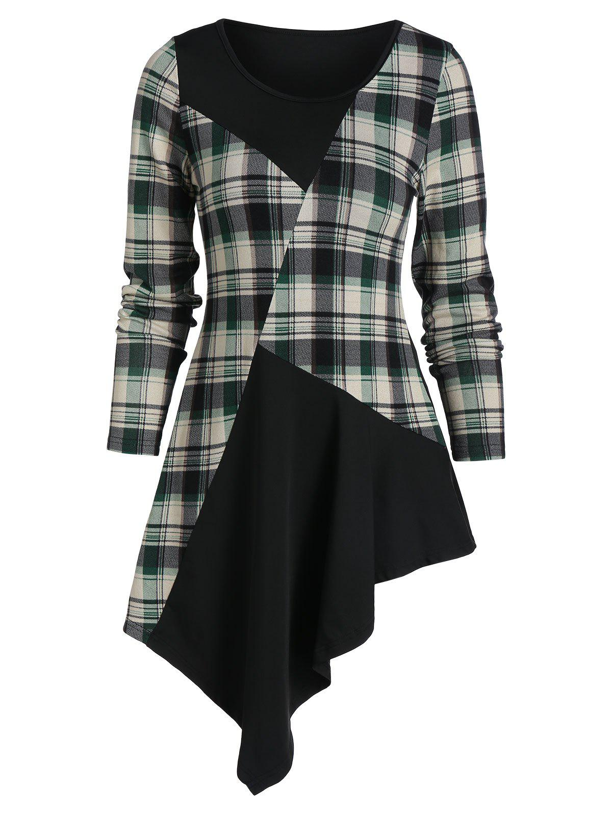 Plaid Insert Asymmetric Longline T Shirt - multicolor A M