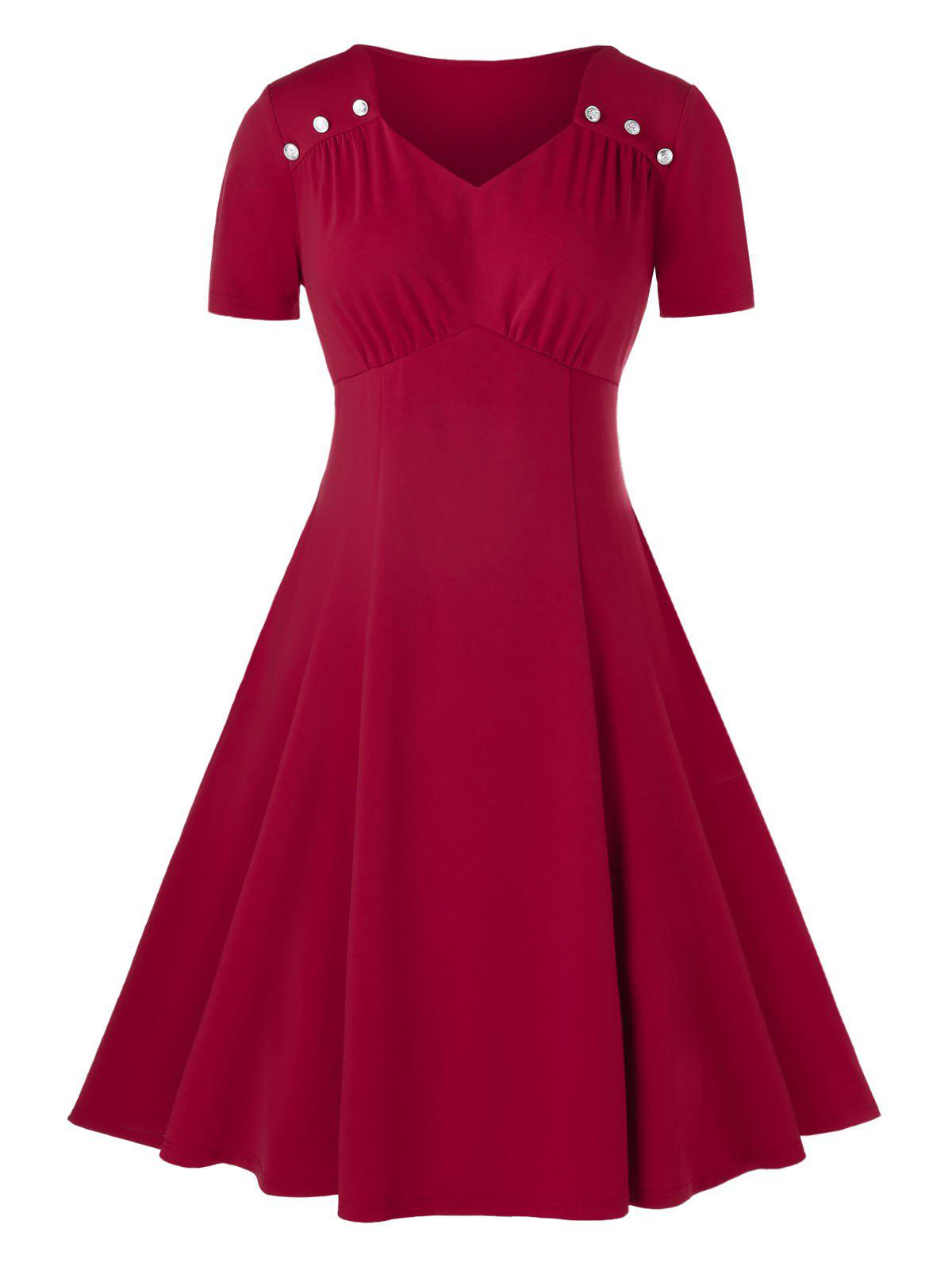 Plus Size Sweetheart Neck Ruched A Line Dress - RED WINE 5X