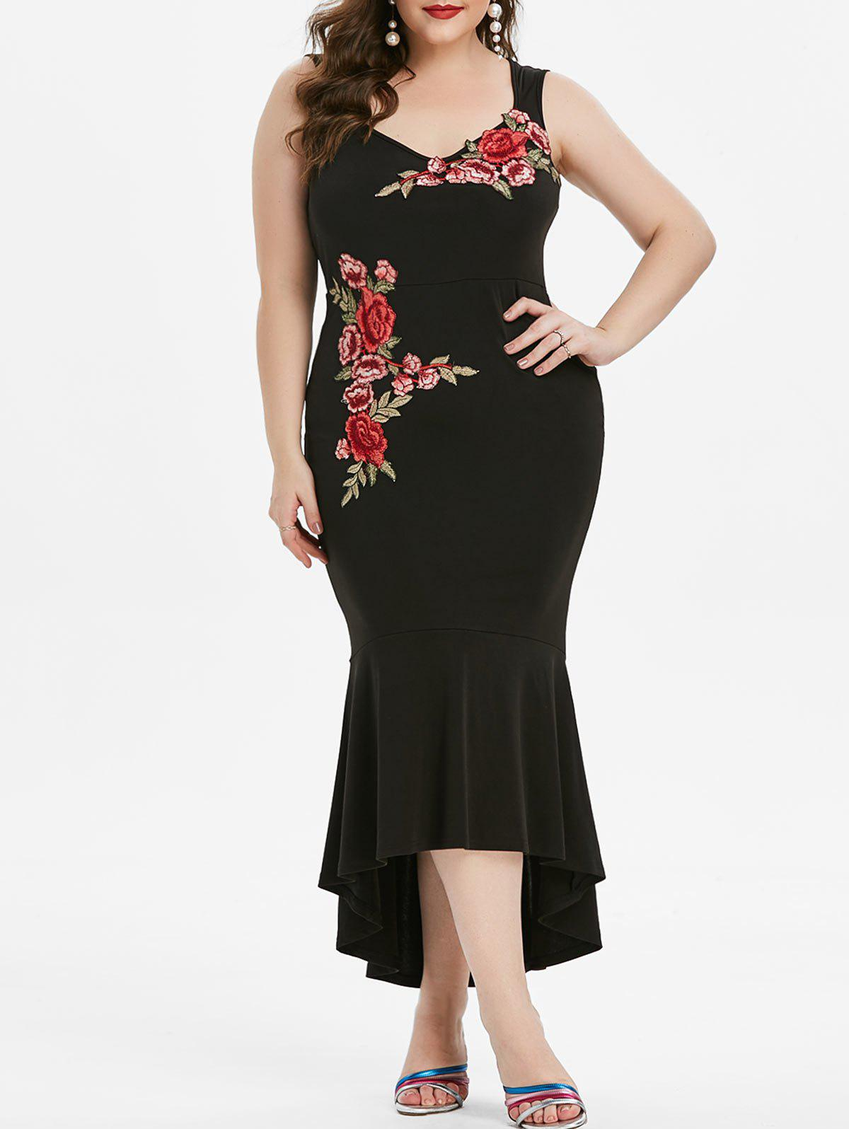 Plus Size Embroidered High Low Maxi Mermaid Dress - BLACK 1X