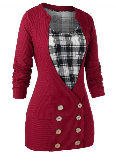Plus Size Double Breasted Cardigan With Plaid Tank Top Set