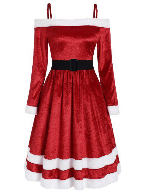 Fur Trim Belt Embellished Velvet Christmas Dress